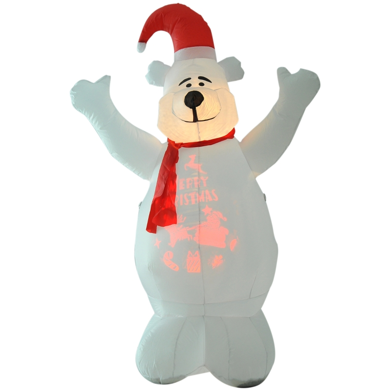 HOMCOM 6ft Tall Outdoor Inflatable Bear Lighted Airblown Projection Christmas Lawn Decor