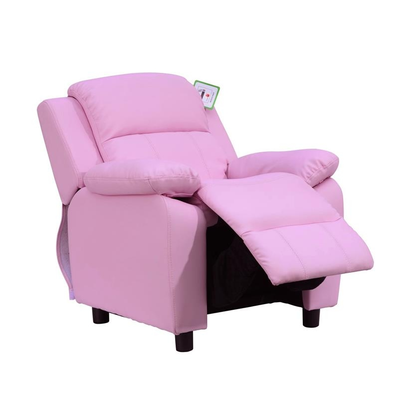 HOMCOM Childrens Recliner Armchair W/ Storage Space on Arms-Pink