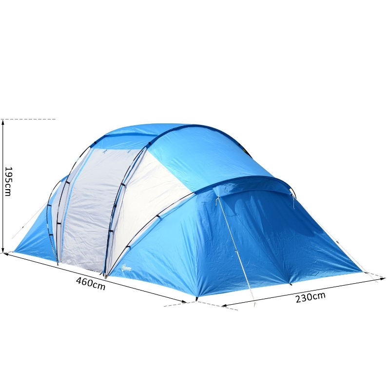 Outsunny 460Lx230Wx195H cm Camping Tent Shelter-Blue/White