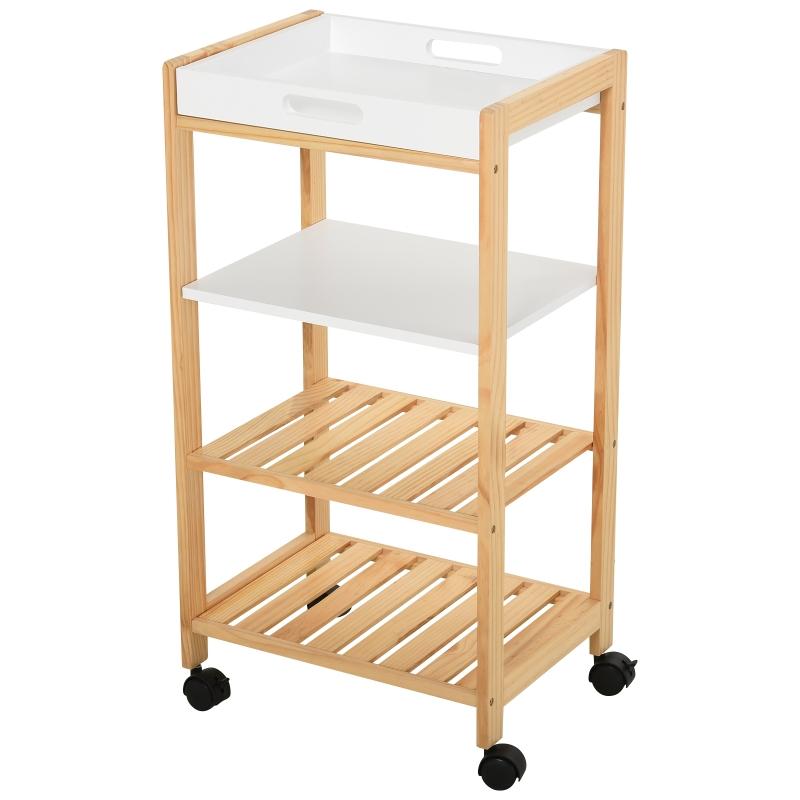 HOMCOM Pine Wood 4-Tier Kitchen Trolley White