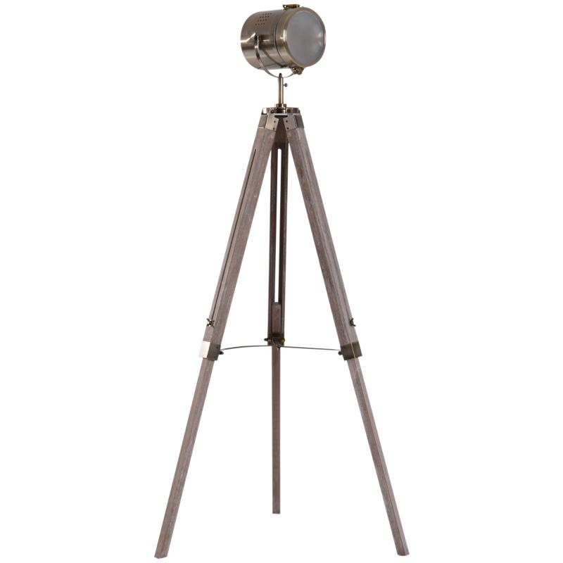 HOMCOM Vintage Tripod Floor Lamp, 65L, Adjustable Height-Wood/Bronze Colour