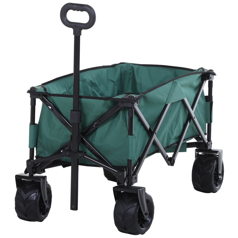 Outsunny Metal Frame Folding Pull Cargo Cart Green
