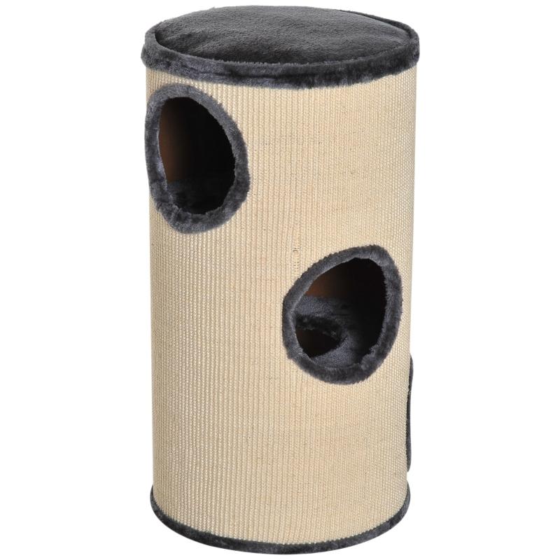 PawHut Cat Scratching Barrel Sisal Activity Center Post 3 Dens Observation Deck 70H cm