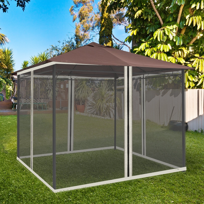 Outsunny Universal 10 x 10ft Gazebo Adjustable Replacement Mosquito Netting Black