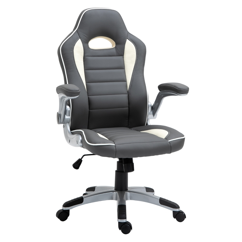 Vinsetto Office Chair Height Adjustable Swivel Chair With Tilt Function PU Grey