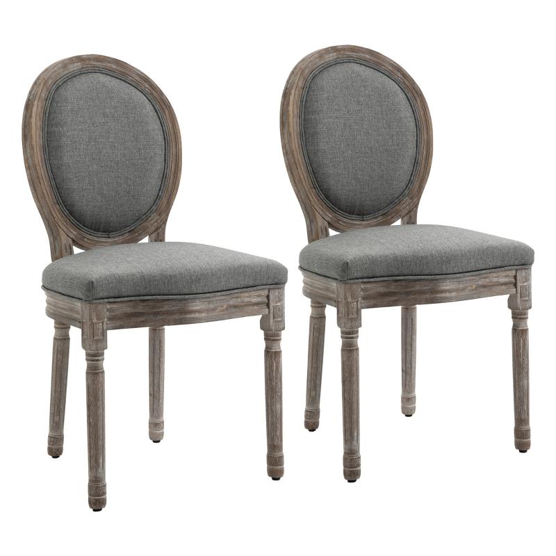 HOMCOM Set of 2 Elegant French-Style Dining Chairs w/ Wood Frame Foam Seats