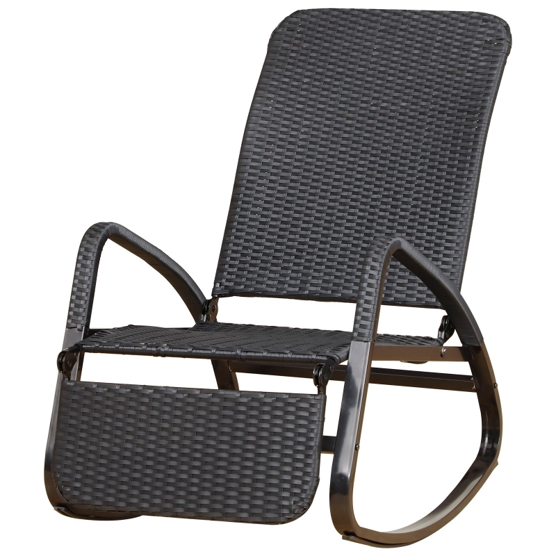 Outsunny PE Rattan Foldable Recliner Rocking Chair w/ Footrest Black