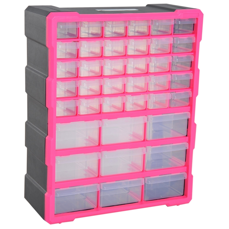 DURHAND 39 Drawers Parts Organiser Wall Mount Tools Storage Cabinet Nuts Bolts Clear