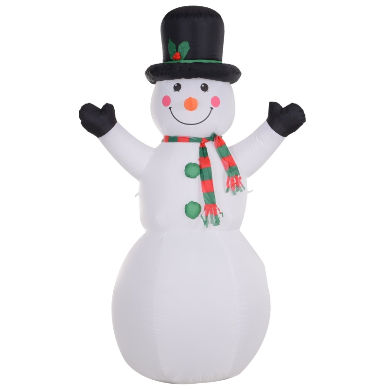 HOMCOM 1.8m Inflatable Snowman Decoration Polyester - White