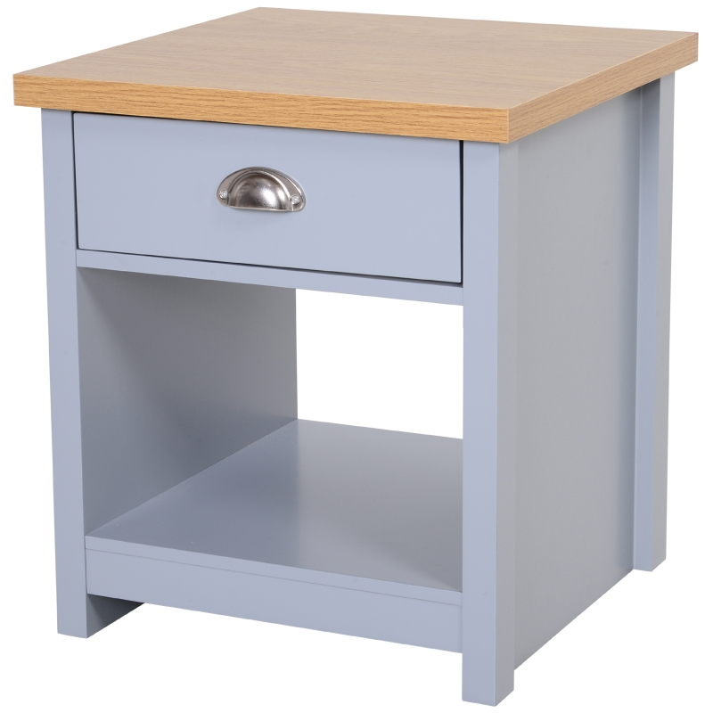 HOMCOM Bedside Table Night Stand Home Furniture w/ Drawer Bottom Shelf Oak Effect Top Elevated Base Grey Bedroom
