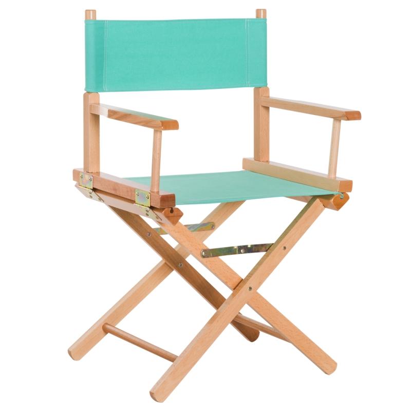 HOMCOM Wooden Director's Folding Chair, Oxford Fabric, Beech,54L-Green/Natural Wood Colour