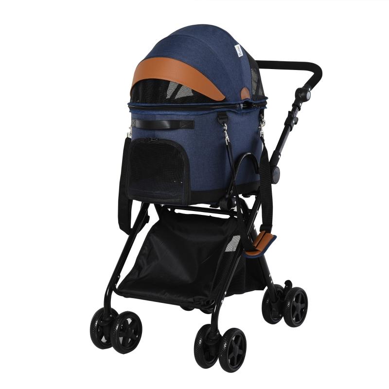 PawHut Oxford Cloth 2-in-1 Convertible Pet Stroller Blue/Orange