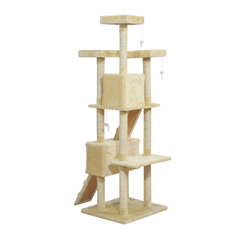 PawHut Cat Tree Scratching Post 27L×27W×28.5H cm-Beige