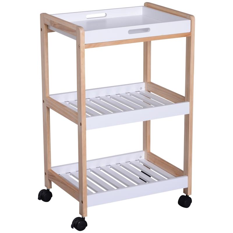 HOMCOM Mobile Kitchen Trolley Cart Bamboo Storage Shelves Rolling Wheels White