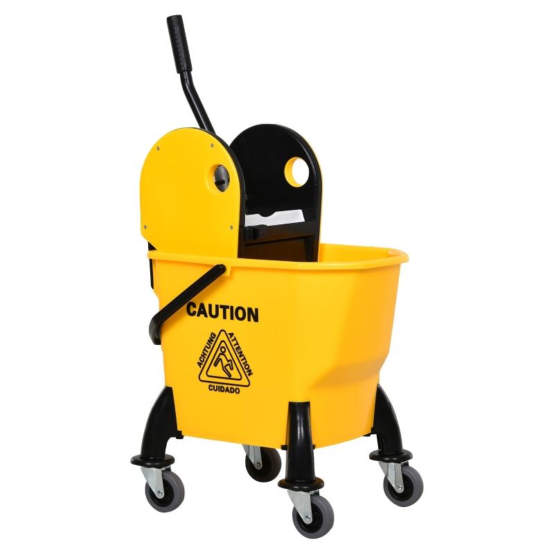 HOMCOM 26L Commercial Plastic Mop Bucket & Water Wringer Yellow