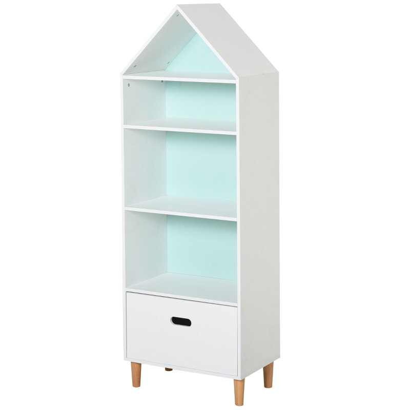 HOMCOM Kids MDF 5-Tier Bookshelf w/ Drawer White/Blue