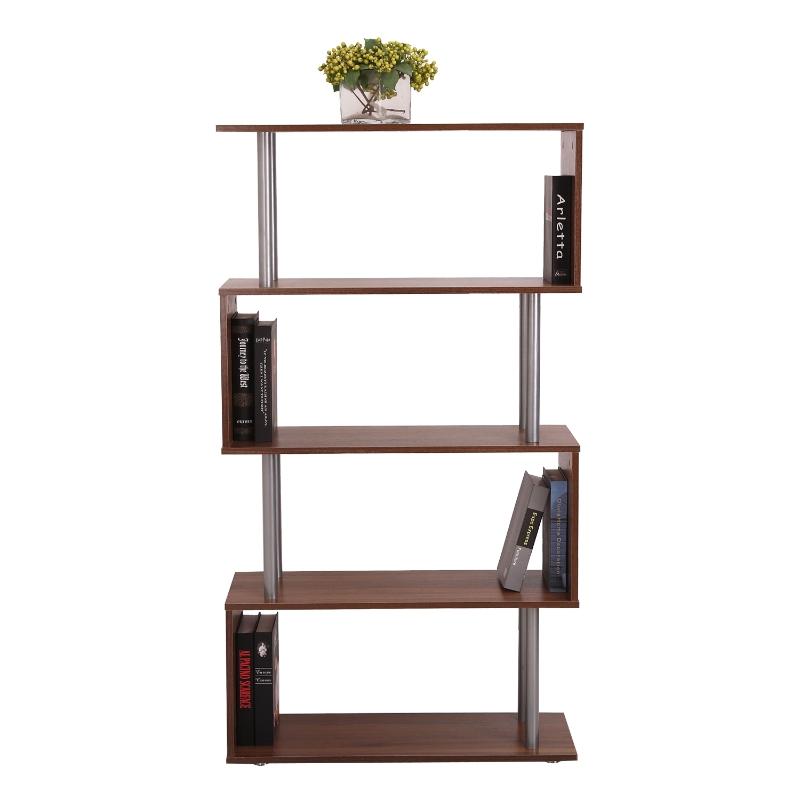 HOMCOM Particle Board S-Shaped Asymmetrical Bookshelf Unit Walnut