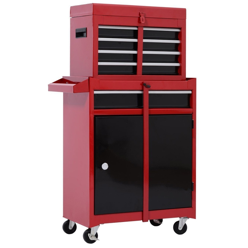 HOMCOM Cold Rolled Steel 2-in-1 Tool Cabinet Red