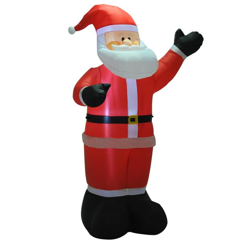 HOMCOM Inflatable 2.4m  Santa Claus Xmas Decoration W/LED lights Polyester Fabric - Multicolour