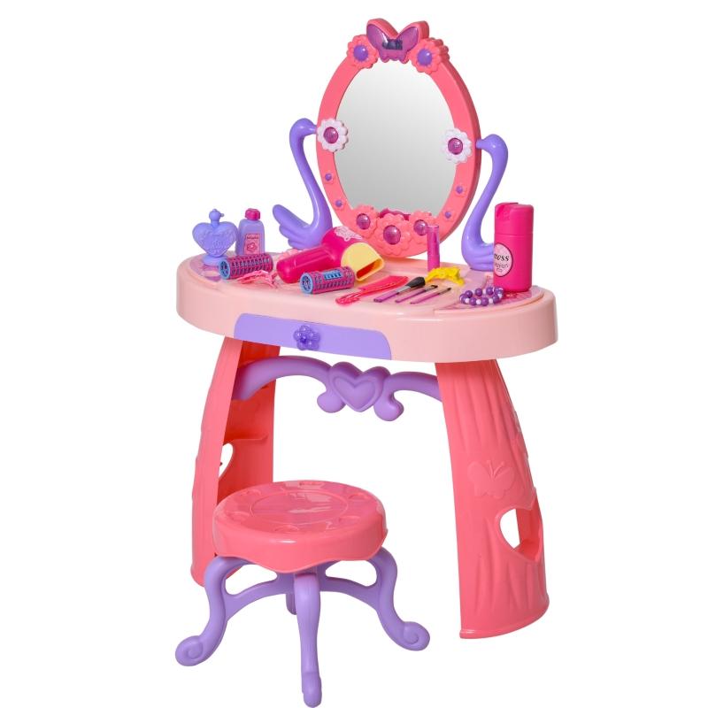 HOMCOM Kids Pretend Play Plastic Vanity Table Set Pink/Purple