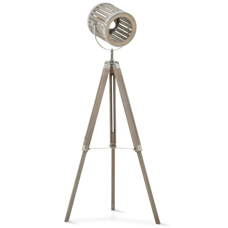 HOMCOM Pine Wood Height Adjustable Tripod Floor Lamp