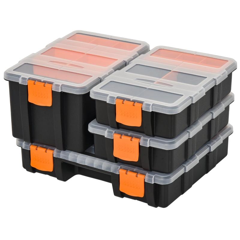 DURHAND PP 4-Pack Size Variety Tool & Hardware Storage Boxes Black/Orange