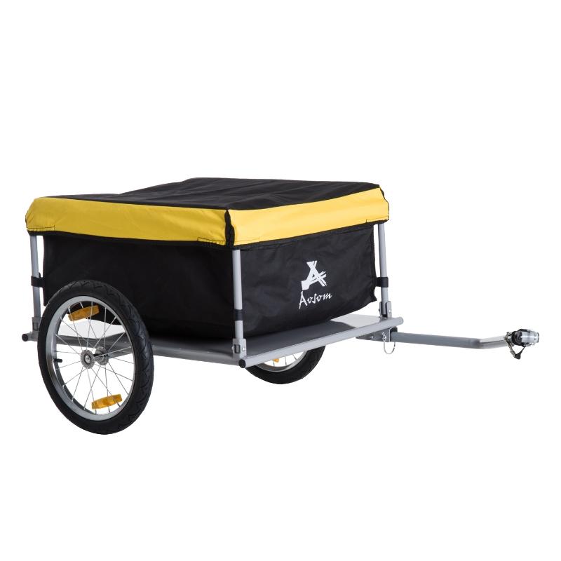 HOMCOM Steel Frame Bicycle Cargo Trailer Yellow