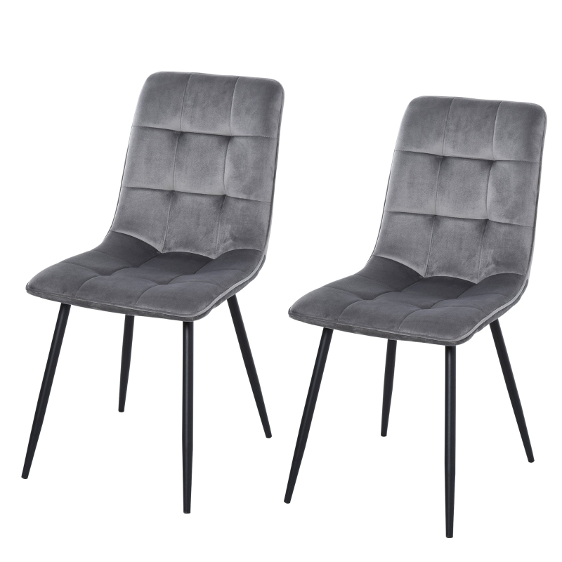 HOMCOM Flannelette Tufted Twin-Pair Dining Chairs Grey