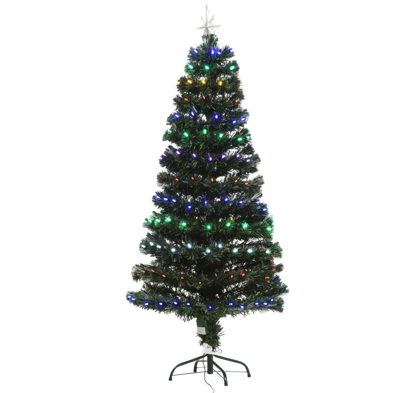 HOMCOM 150CM Pre-Lit Fibre Optic Christmas Tree Metal Base 170 Branch Tip LED Lights
