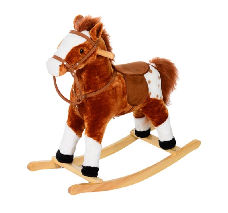 HOMCOM Children Plush Rocking Horse with Sound-Brown
