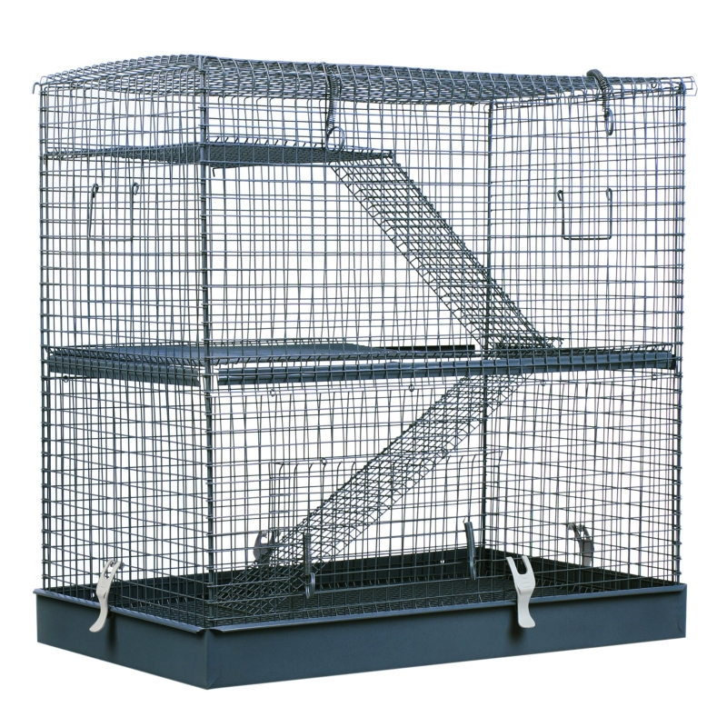 PawHut 3-Level Hamster Cage Small Animal Rat Pet Hutch House Easy Clip Base Ladder Grey