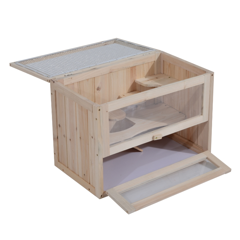 PawHut Fir Wood Hamster Cage Suitable for Small Rodent Animals