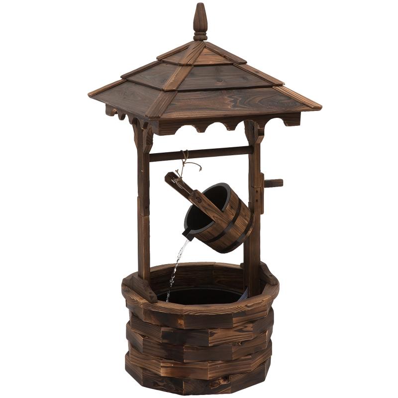 Outsunny Rustic Wooden Barrel Well Garden Fountain w/Pump
