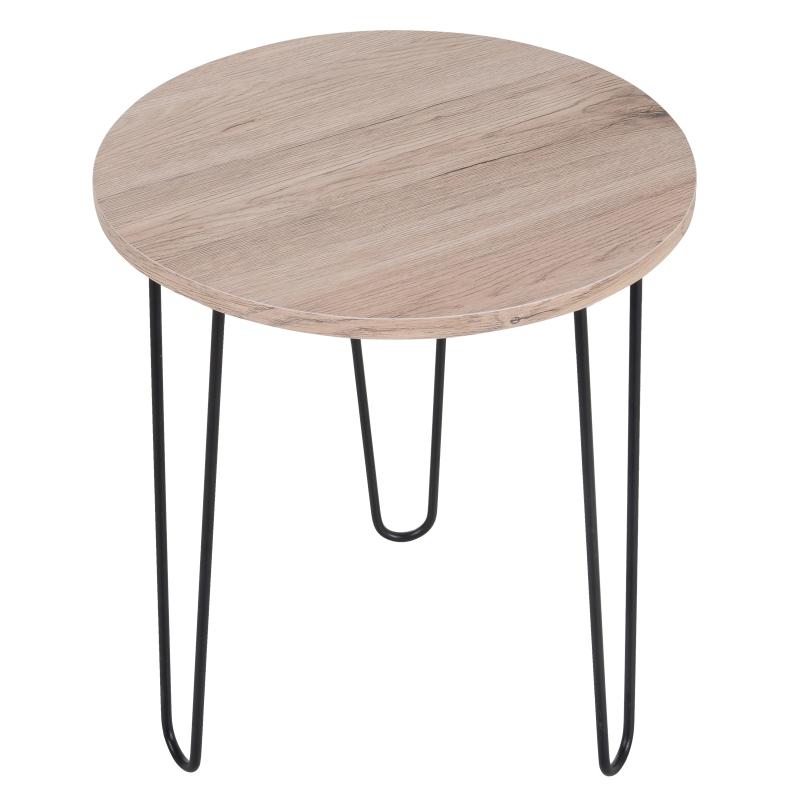 HOMCOM Particle Board Round Side Table w/ Metal Legs Black