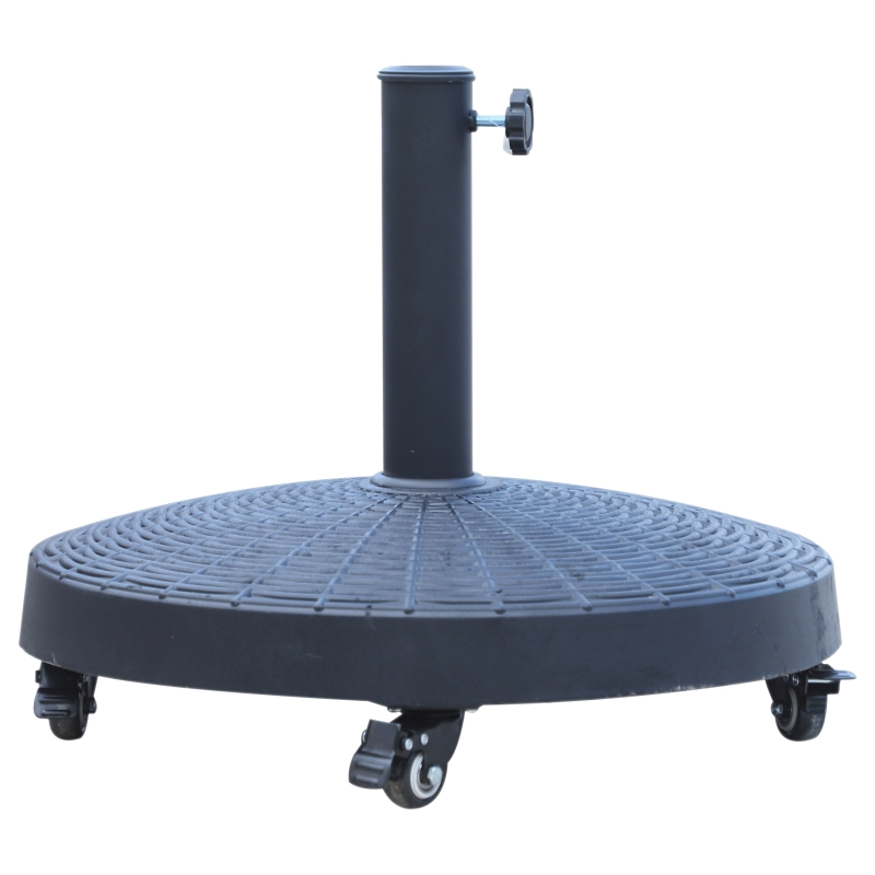 Outsunny Resin Patio Umbrella Stand, Weight Deck Holder W/Wheels-Black