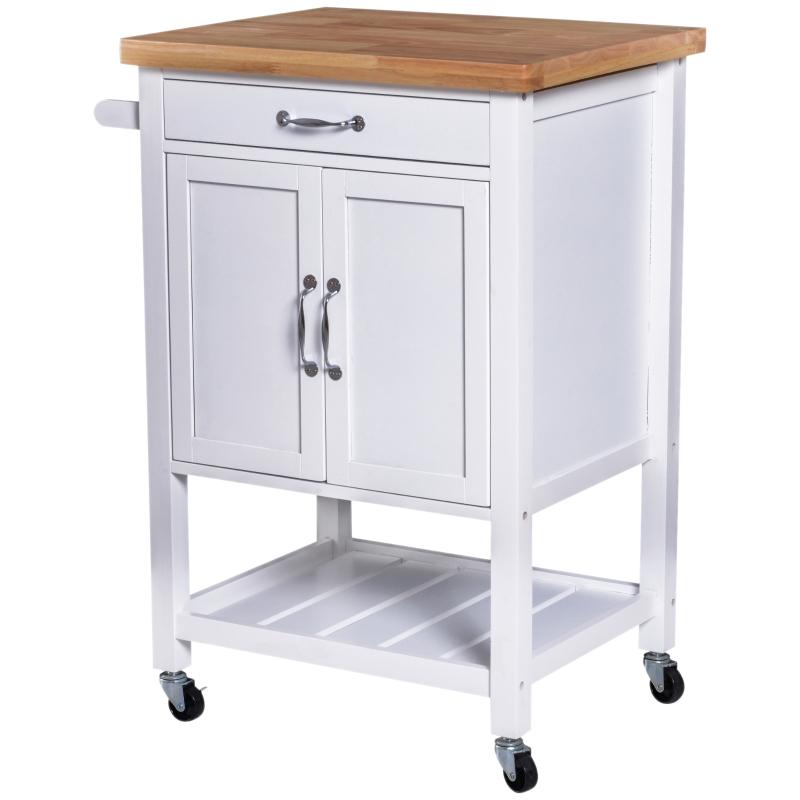 HOMCOM Kitchen Storage Trolley Cart Rolling Wheels Shelves Cupboard Towel Rail W/ Drawer
