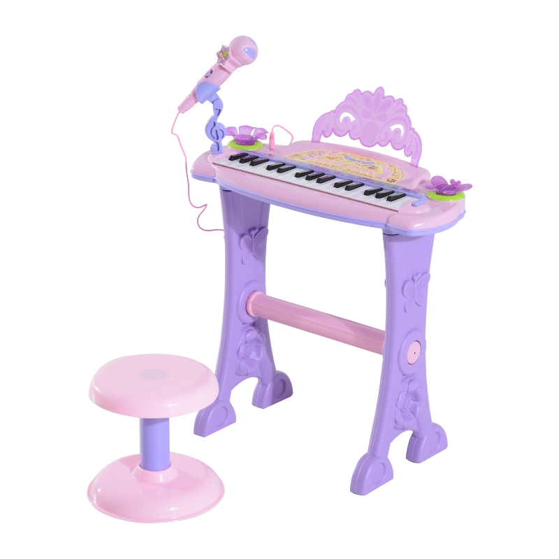 HOMCOM Mini Electronic Organ Piano W/Microphone and Stool-Purple/Pink