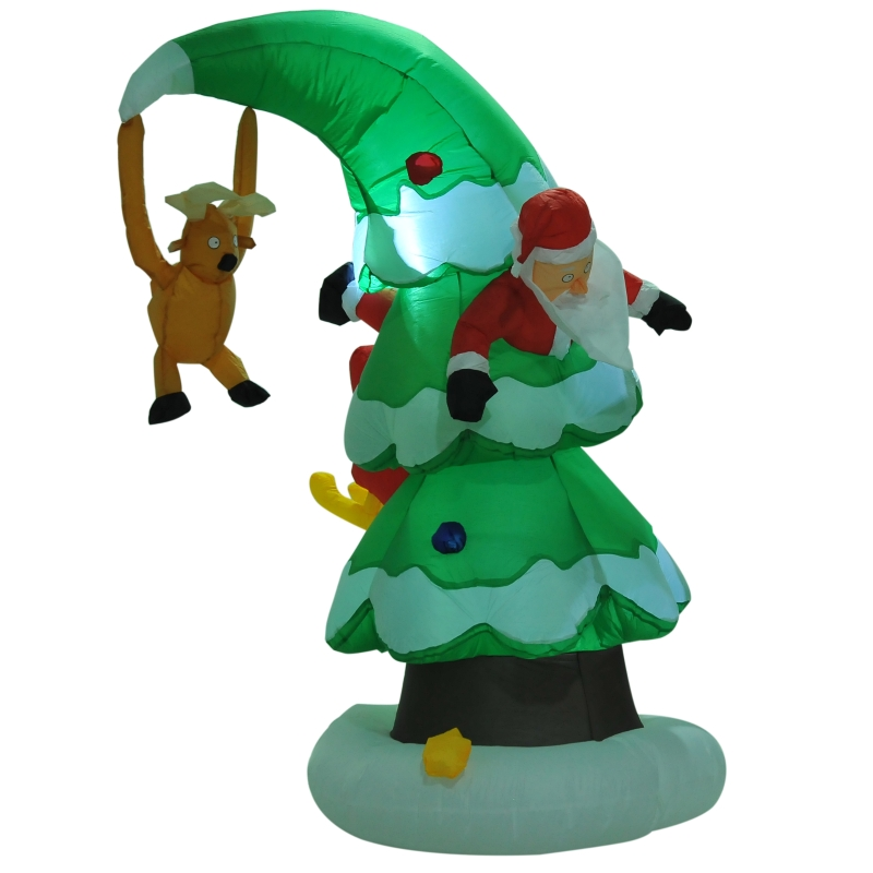 HOMCOM 7 Ft Inflatable Christmas Tree W/ Santa Decoration, Polyester Fabric-Multicolour