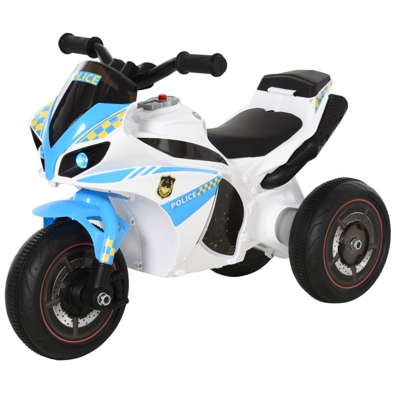 HOMCOM Toddlers 3-Wheel Plastic Motorcycle Push Walker Blue/White