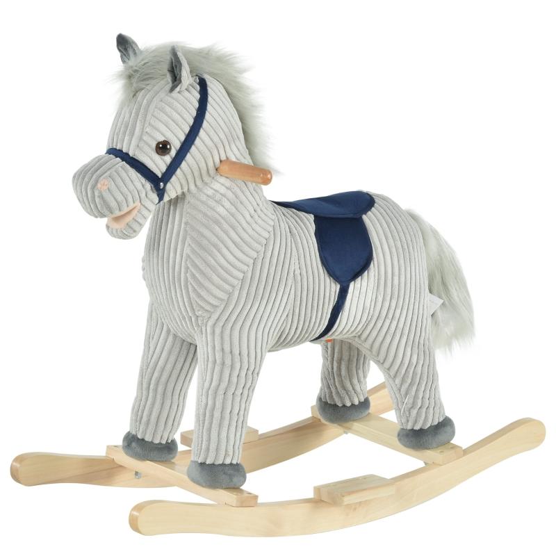 HOMCOM Kids Ride On Ribbed Plush Rocking Horse w/ Sound Grey