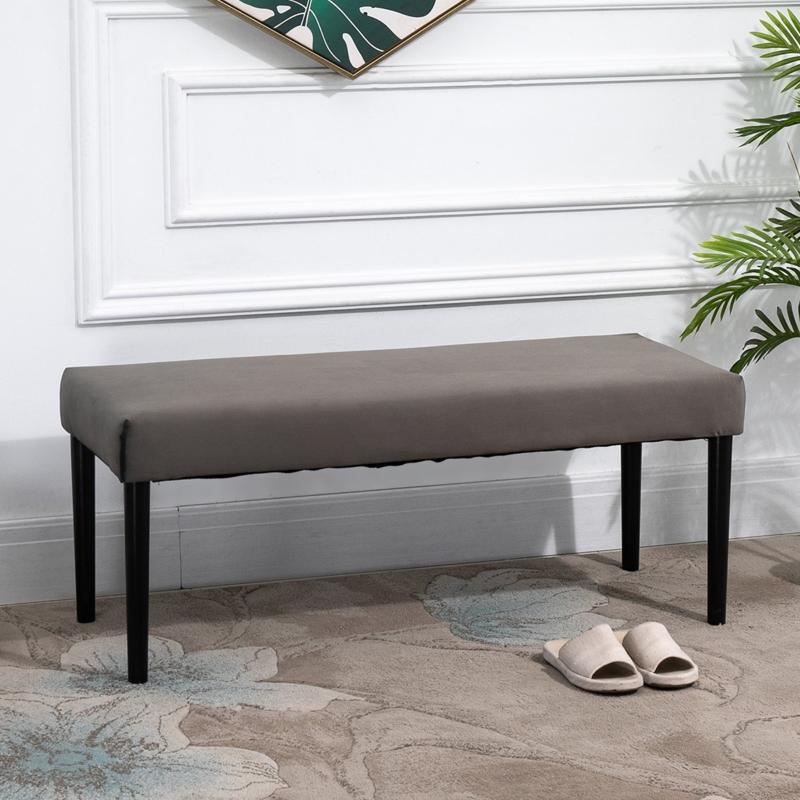 HOMCOM Multipurpose Bench Velvet Upholstered Seat Wood Grey