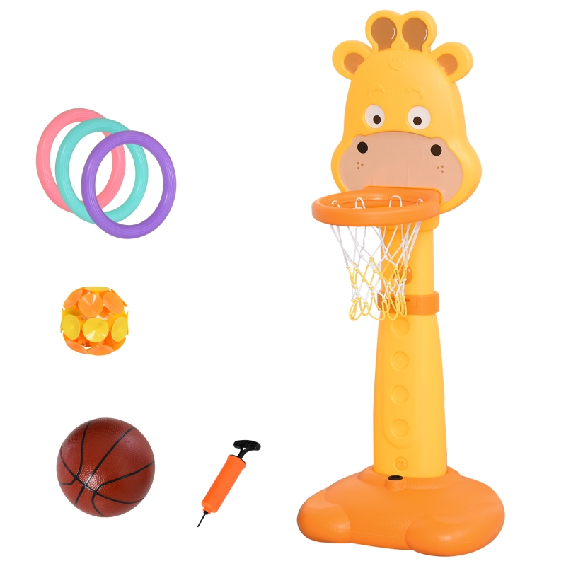 HOMCOM Kids Multifunctional Plastic Giraffe Basketball Playset