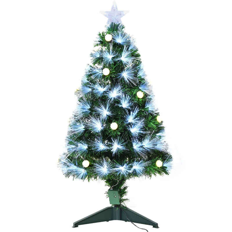 HOMCOM 3ft White Light Artificial Christmas Tree w/ 90 LEDs Star Topper Tri-Base