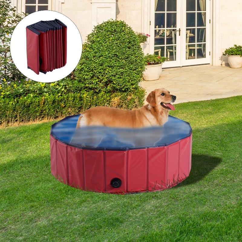Pawhut Φ100x30H cm Pet Swimming Pool-Red