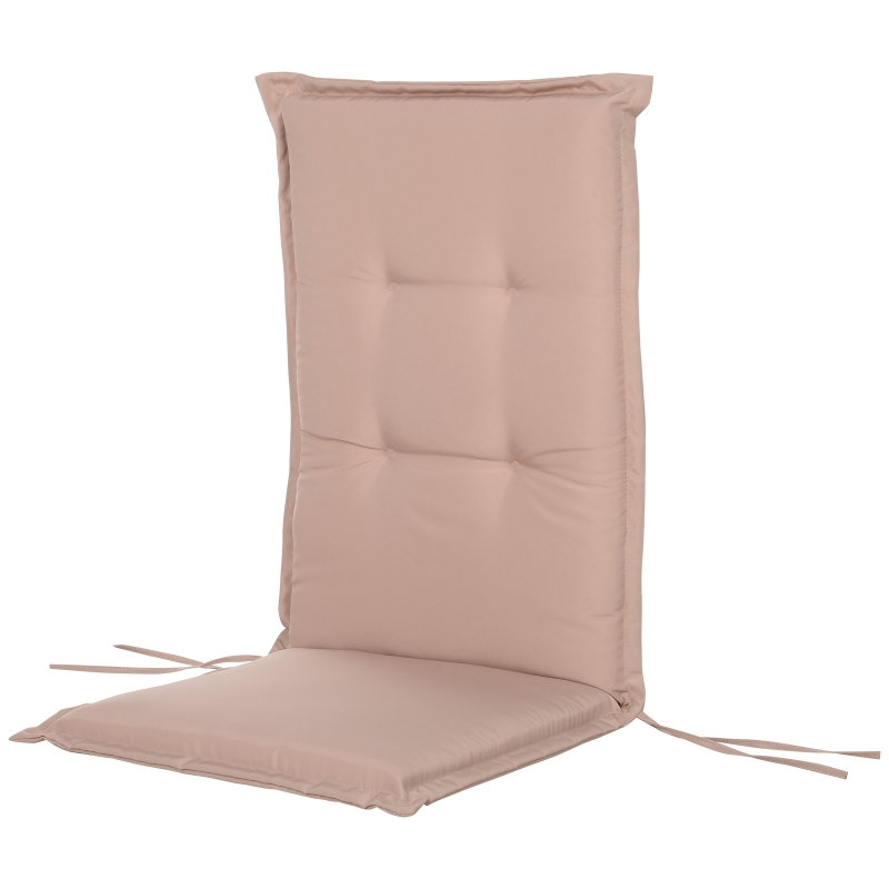 Outsunny Polyester High Back Outdoor Garden Chair Replacement Cushion Beige