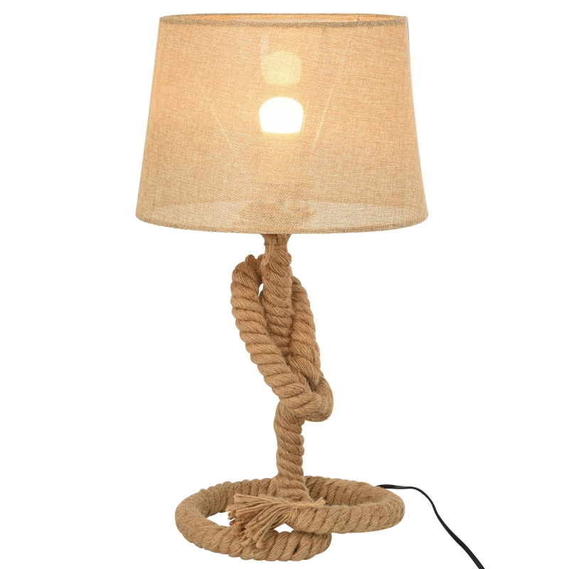 HOMCOM Hemp Rope Linen Shade Table Lamp Beige