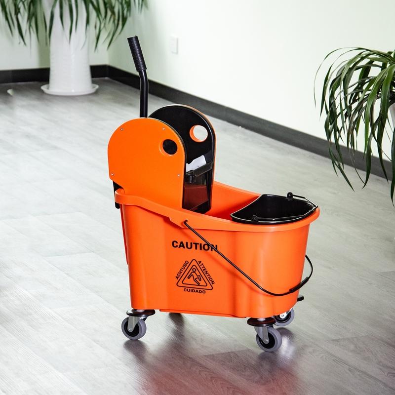 HOMCOM 9.5 Gallon/36L Mop Bucket Wringer Cart w/ Down Press Wringer, Wheels, Mop Holder