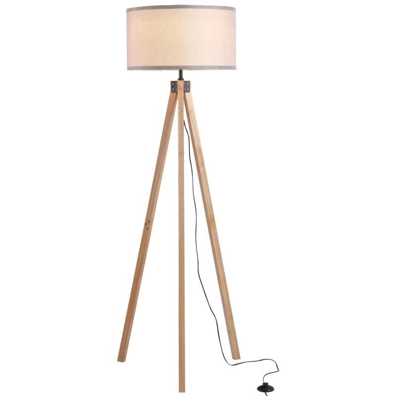 HOMCOM Rubber Wood Tripod Floor Lamp Grey