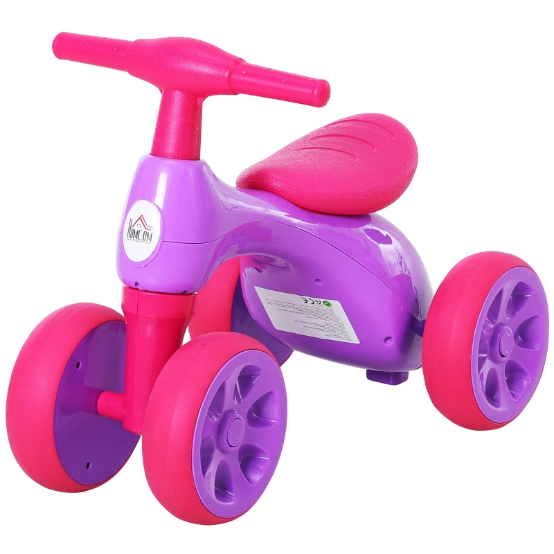 HOMCOM Toddler Training Walker Balance Ride-On Toy with Rubber Wheels Purple