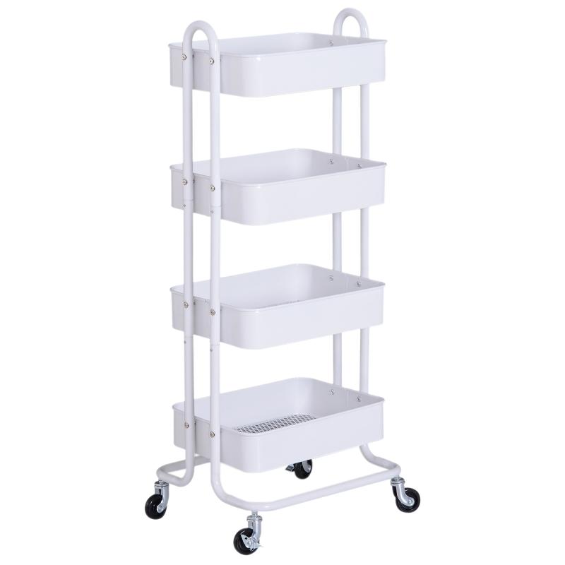 HOMCOM 4-Tier Rolling Storage Utility Serving Cart, 46.5Lx40.5Wx114Hcm-White